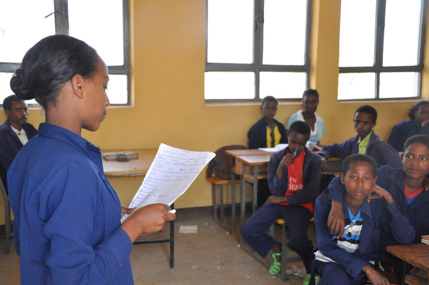 Ethiopian girl addresses her classmates (credit: Plan)