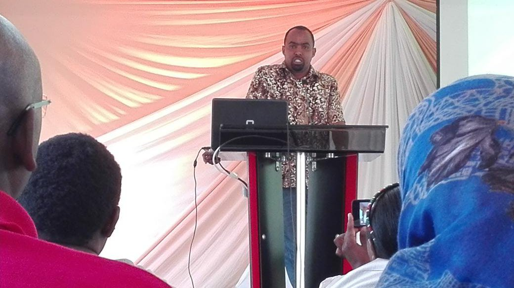 Mr. Omar Nasteh, Chaiperson Kenya Anti-FGM Youth Network giving his welcome remarks
