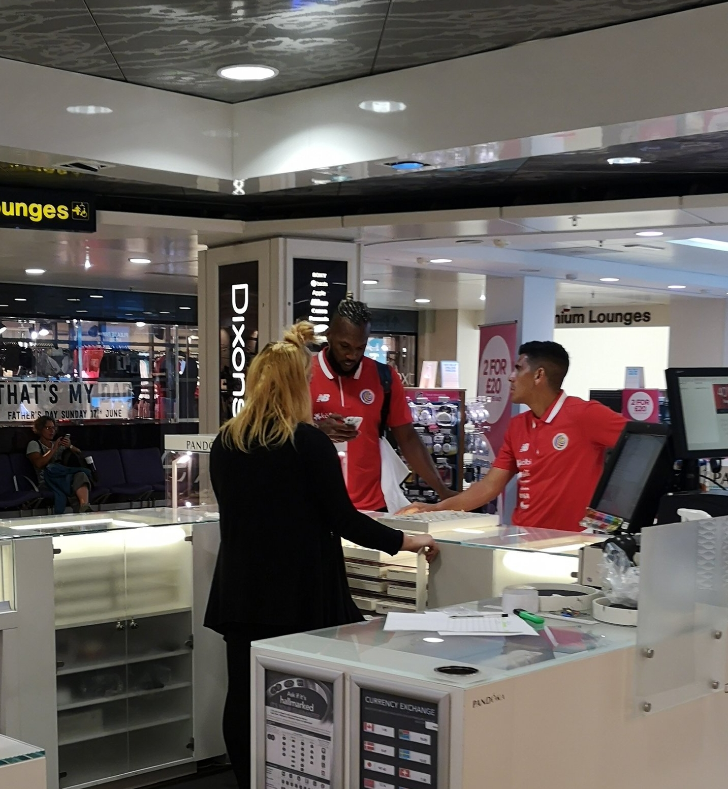The costa rican national side were in Manchester airport