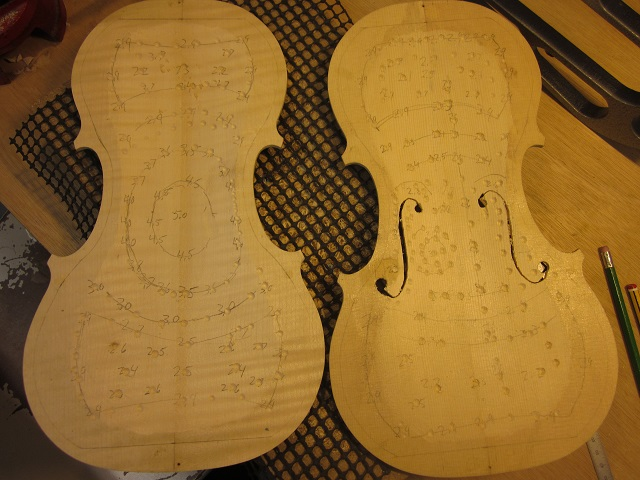 The varying thicknesses of the plates are crucial to proper sound.  I reference measurements from Italian master instruments, and then spend more time flexing, tapping, and trying to give the instrument its best voice.  My tops tend to weigh around 62 grams, and the backs around 110.  Light and strong helps to make for that immediate response that a good violin should have.