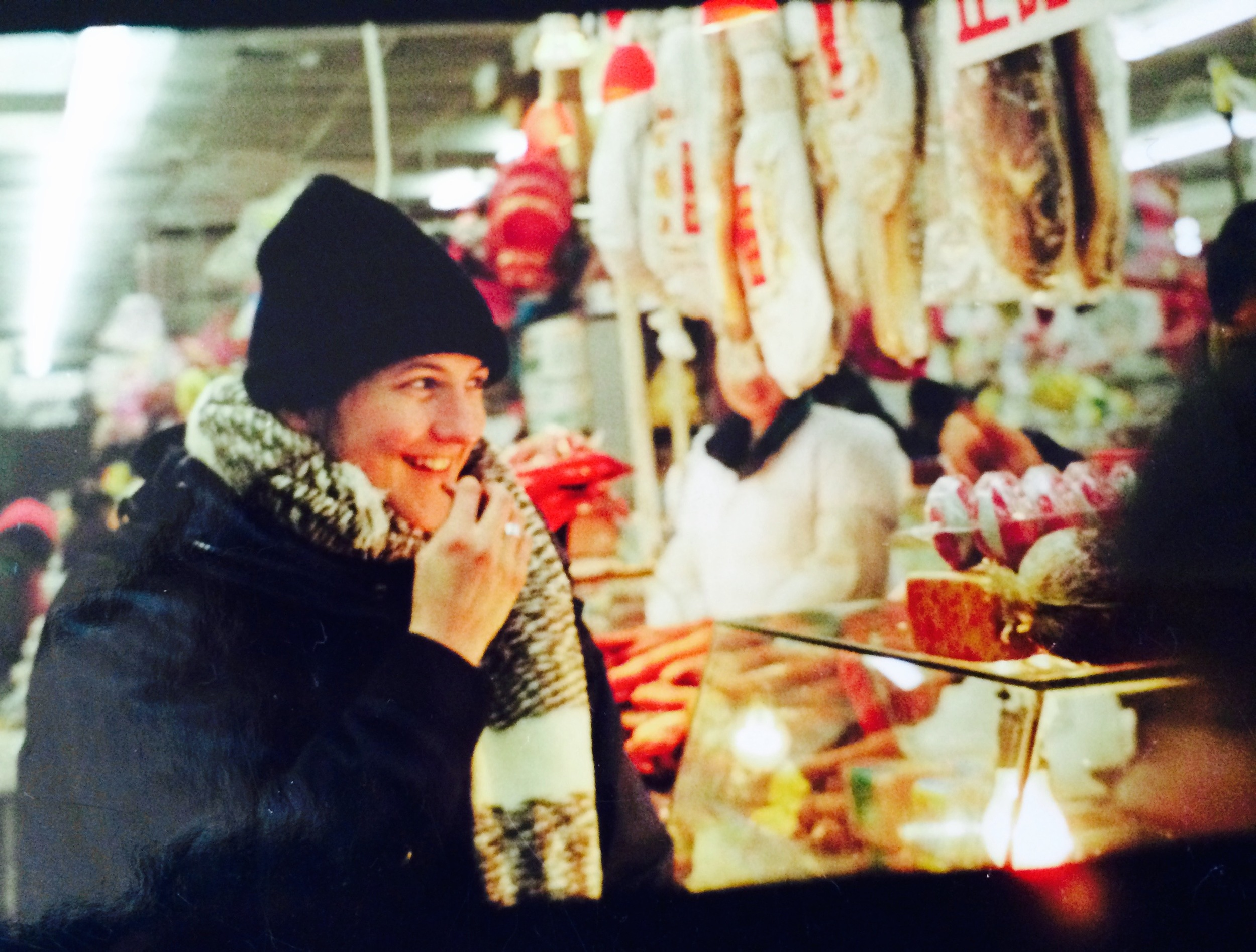 me tasting deli meats, Harbin, 2000