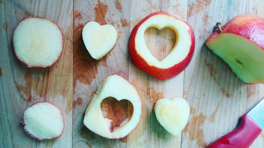 Don't have a miniature heart cutter? Use your favorite shape, or simply cut the apple into smaller slices!