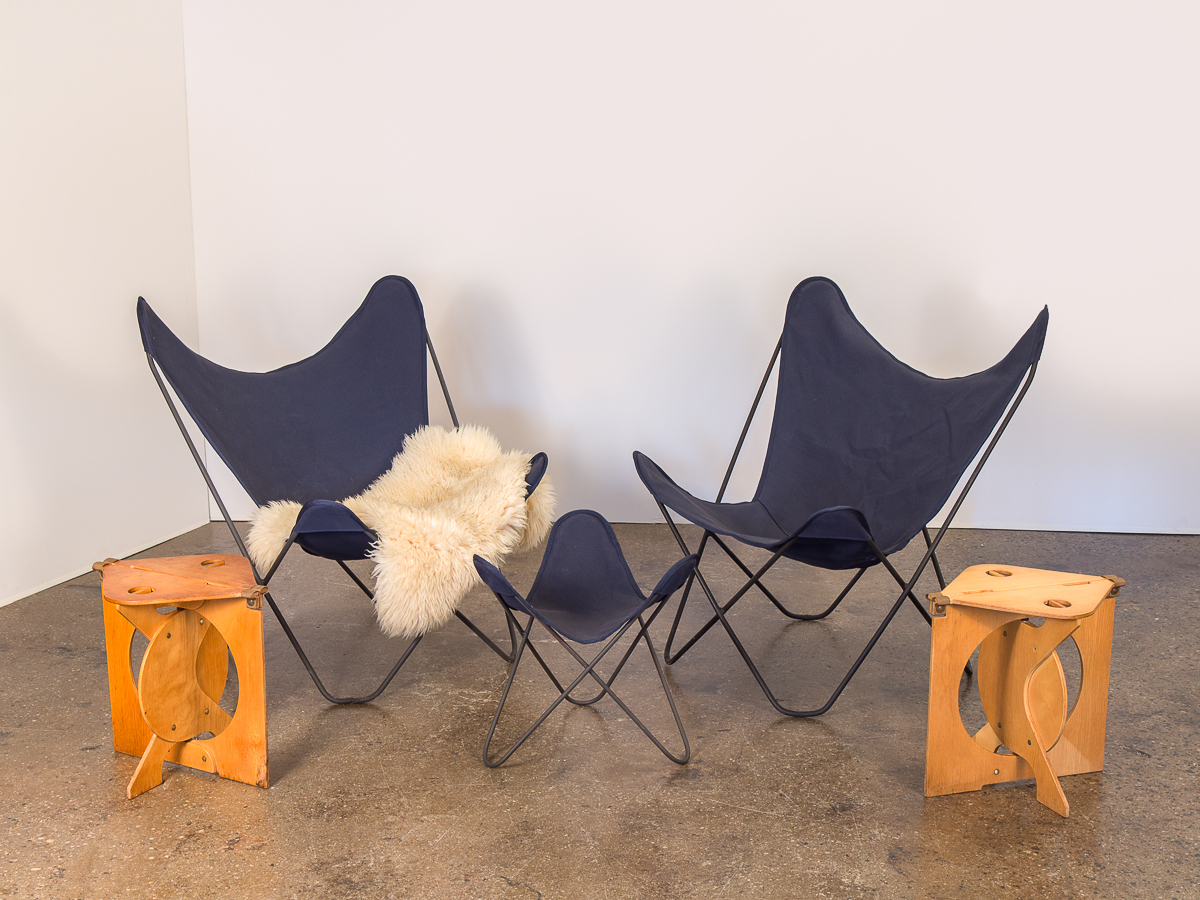 Pair Of Vintage Bkf Hardoy Butterfly Chairs For Knoll Oam