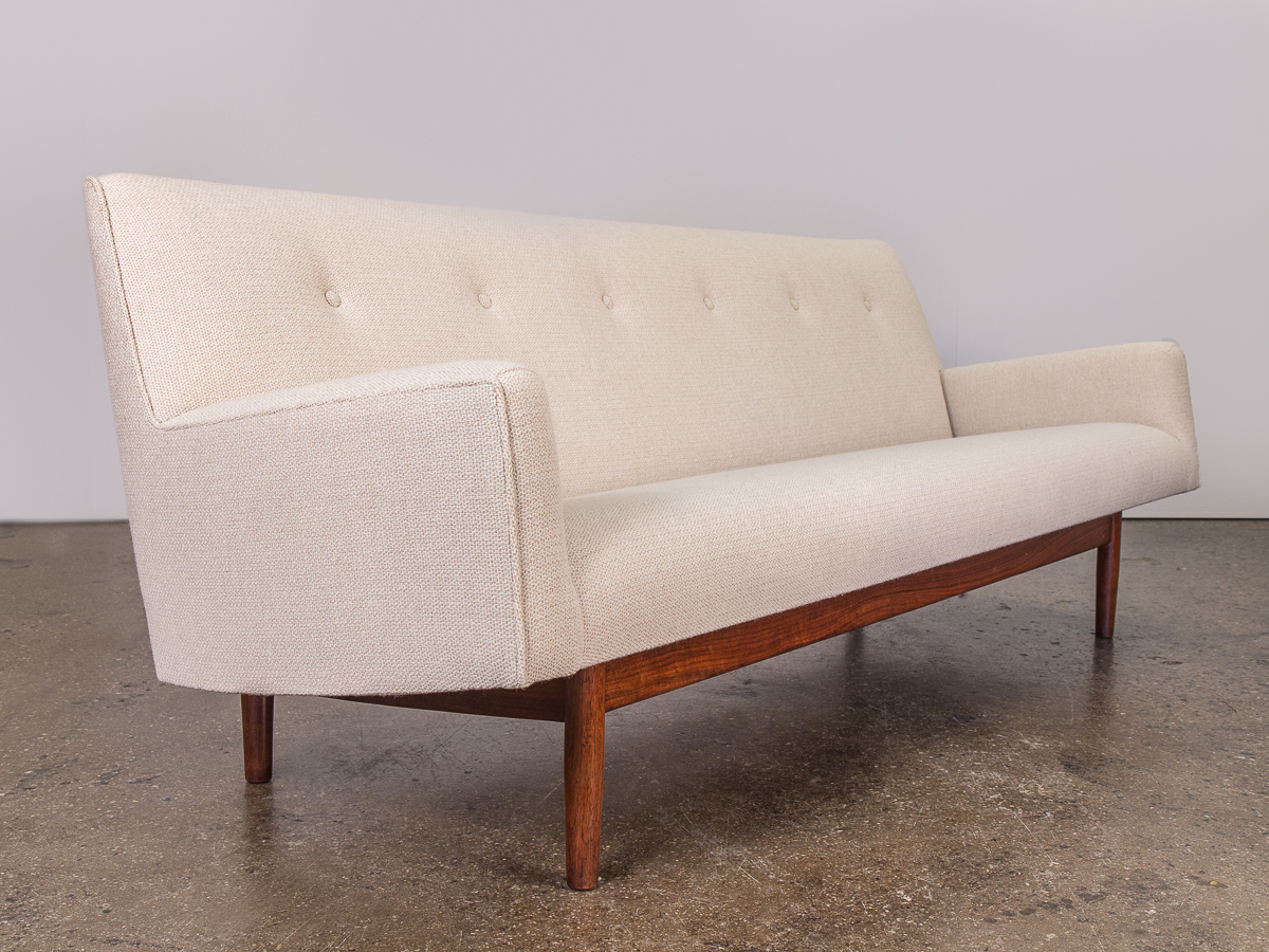 Jens Risom Ivory Tufted Walnut Sofa