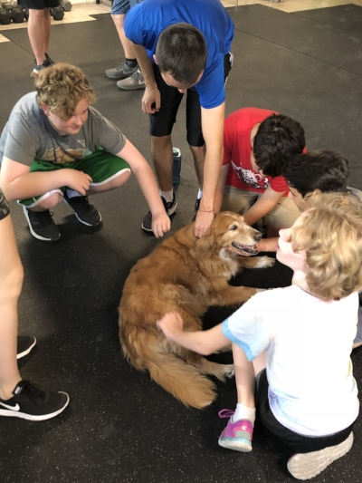 Griffin School PE Students and Dixie