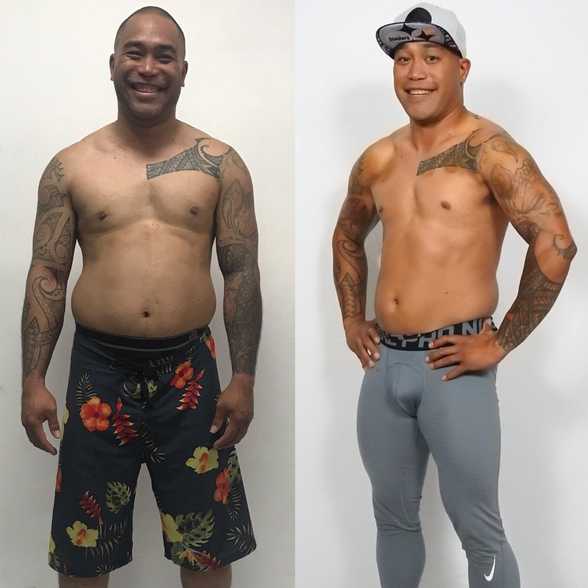 Don't think you can get your health back? Read Brandon's Story... - I'm in the BEST shape since high school! I lowered my blood pressure five years ago, during my first TRANSFORM Challenge with Keoni. I had borderline hypertension and was on the verge of losing my CDL license for work! Now, my health is on point, I've met amazing people and CrossFit is my lifestyle.-Brandon Nakanelua