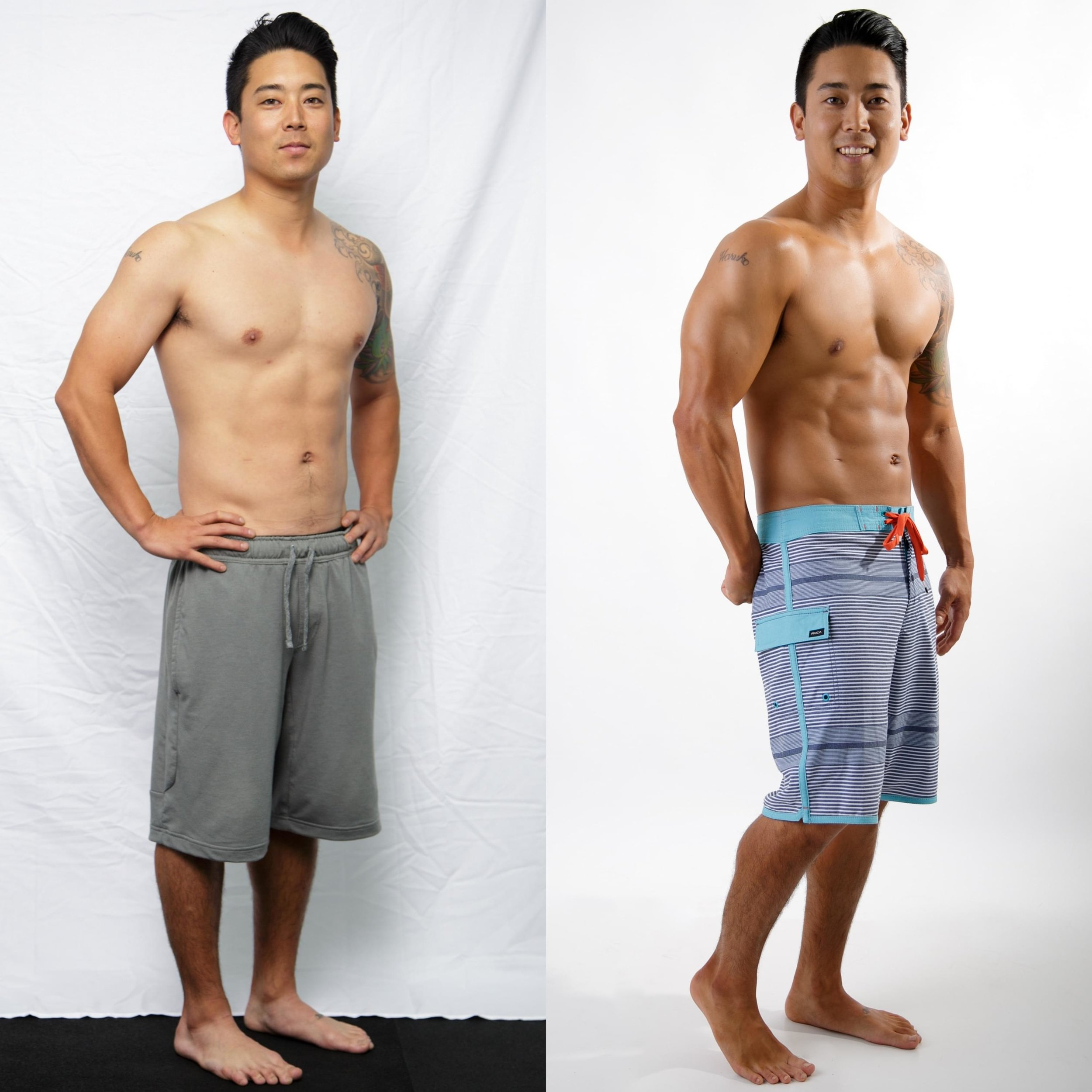 Think your days of being an ATHLETE are over? Read Allen's Story... - In college, I played baseball and lifted weights. Moving home, I ate fast food and gained 15 pounds. I wanted to be fit again. My turning point was feeling my love handles fold while swinging a golf club! I started eating cleaner and started CrossFit. The TRANSFORM Challenge was awesome! My main motivation was proving I had the discipline to do it. I didn't cheat on meals. Once I got the routine it was simple. I feel fit, strong, coordinated, and athletic again. Now it's a lifestyle.-Allen Komori