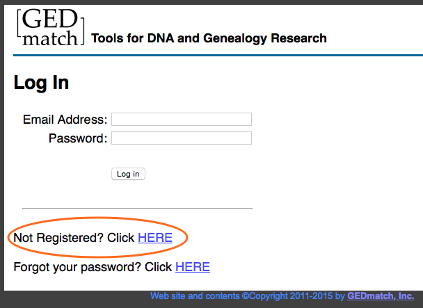 GEDmatch Login page
