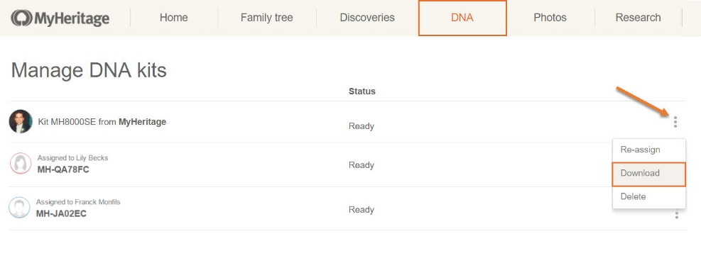 My Heritgage DNA raw data download step 3