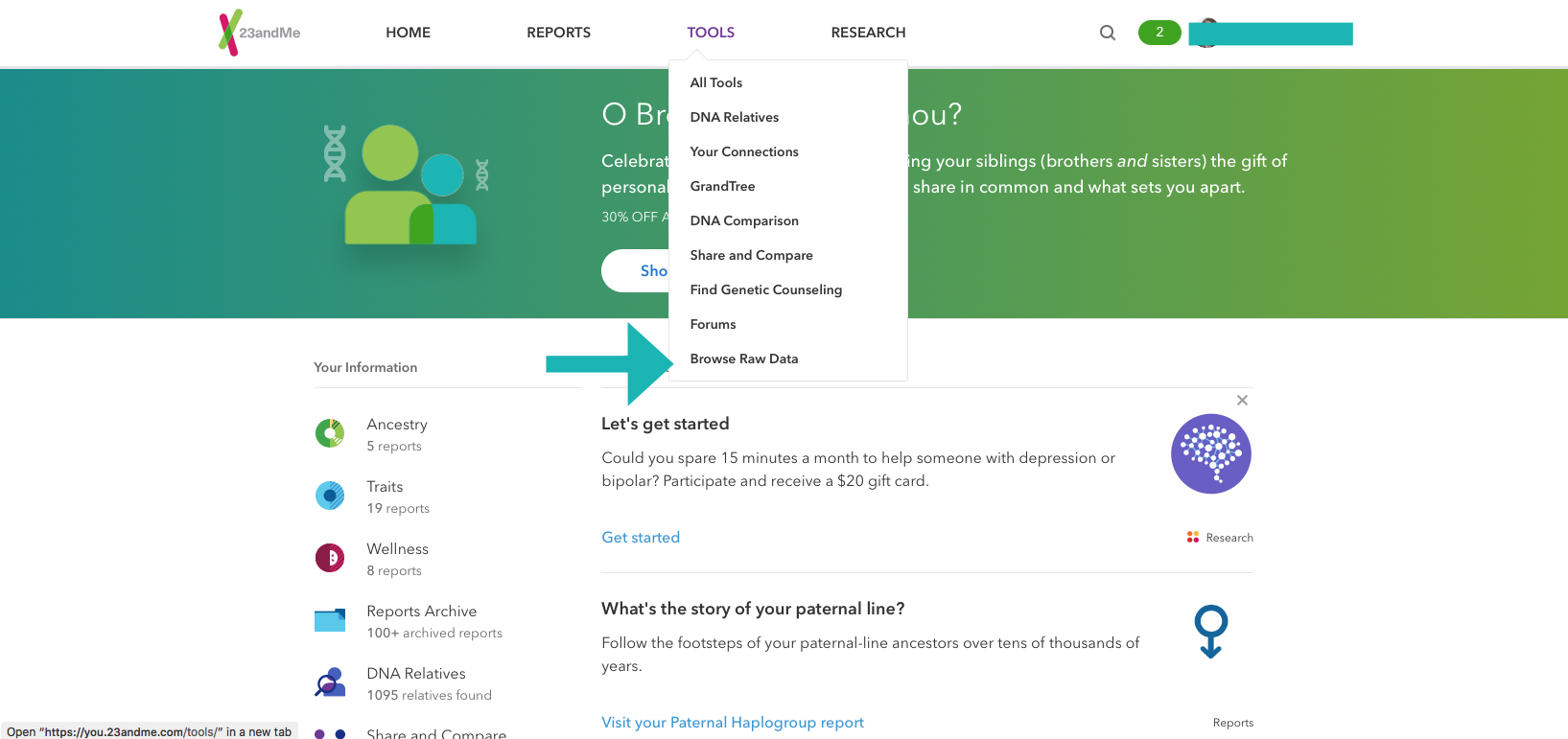 23andMe raw data download browse arrow