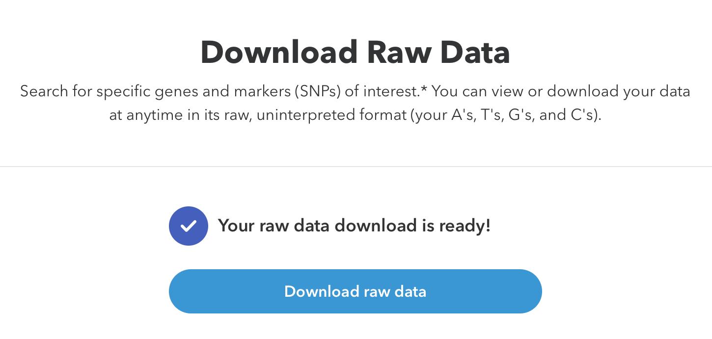 23andMe raw data download step 8