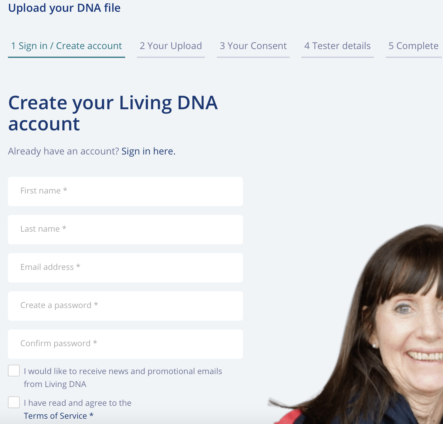 LivingDNA signup to transfer DNA results