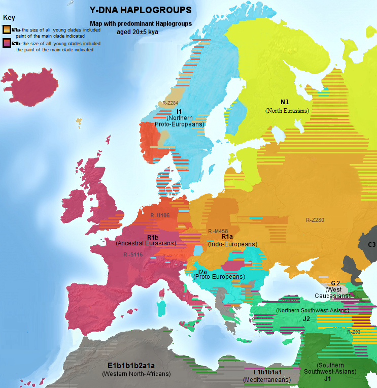 Current distribution of prevailing Y-DNA-haplogroups in Europe. Click on image to see full citation and image information.