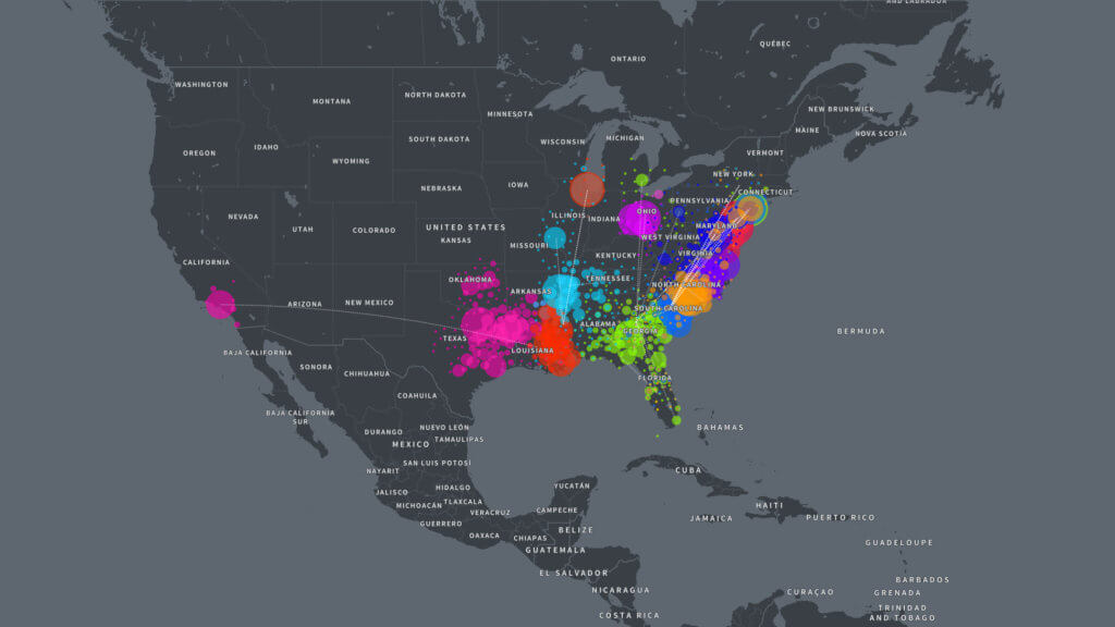 Overview of all AncestryDNA African American communities from 1925-1950. This image shows the exodus of many African Americans from the South to areas in the North and West. This event is commonly known as the Great Migration. Source:  Ancestry.com .