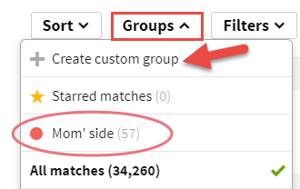 DNA testing identify unknown birth parent mother father tree create custom group.png