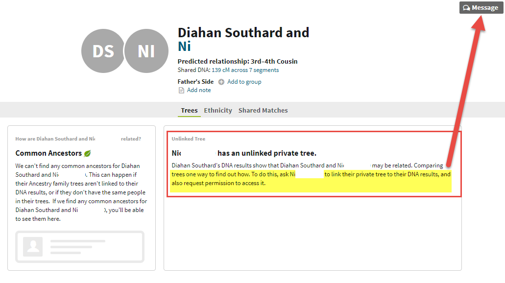 unlinked tree AncestryDNA match locked detail message.png