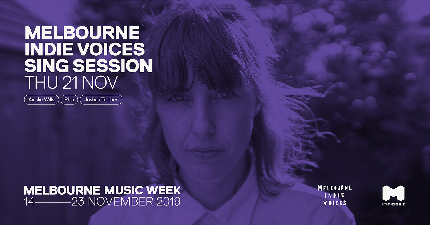 """Last year's Sing Session with Jen Cloher was SO much fun. We had 200+ people singing in 3 part harmony with her singing lead. We wanted to do it all again!  So we've teamed up again  Melbourne Music Week  and invited one of Australia's best and most loved songwriters for Sing Session vol 2...   Ainslie Wills !!  Ainslie has recently released her highly acclaimed second album """"All You Have Is All You Need"""", which features the singles 'Running Second' and 'Society', both nominated for APRA Song Of The Year. If you haven't listened to her new album, go listen to it right now!  So what is a Sing Session, you ask?  First, you get a ticket. Then come to the Toff in Town on Thurs Nov 21st. You will get given a lyric sheet.  Phia  and Josh from  Melbourne Indie Voices  will then teach you an original 3 part harmony choral arrangement of one of Ainslie's songs. It will be easy, promise! And then Ainslie Wills will come out and sing lead on the song With all of us backing her! Her voice is unparalleled, now imagine it with 200+ people singing with her!  We'll record the audio and video so we can all share with our friends after the night. No singing experience necessary, just a desire to sing and a love of indie music.  Song announced shortly!  See you there!"""