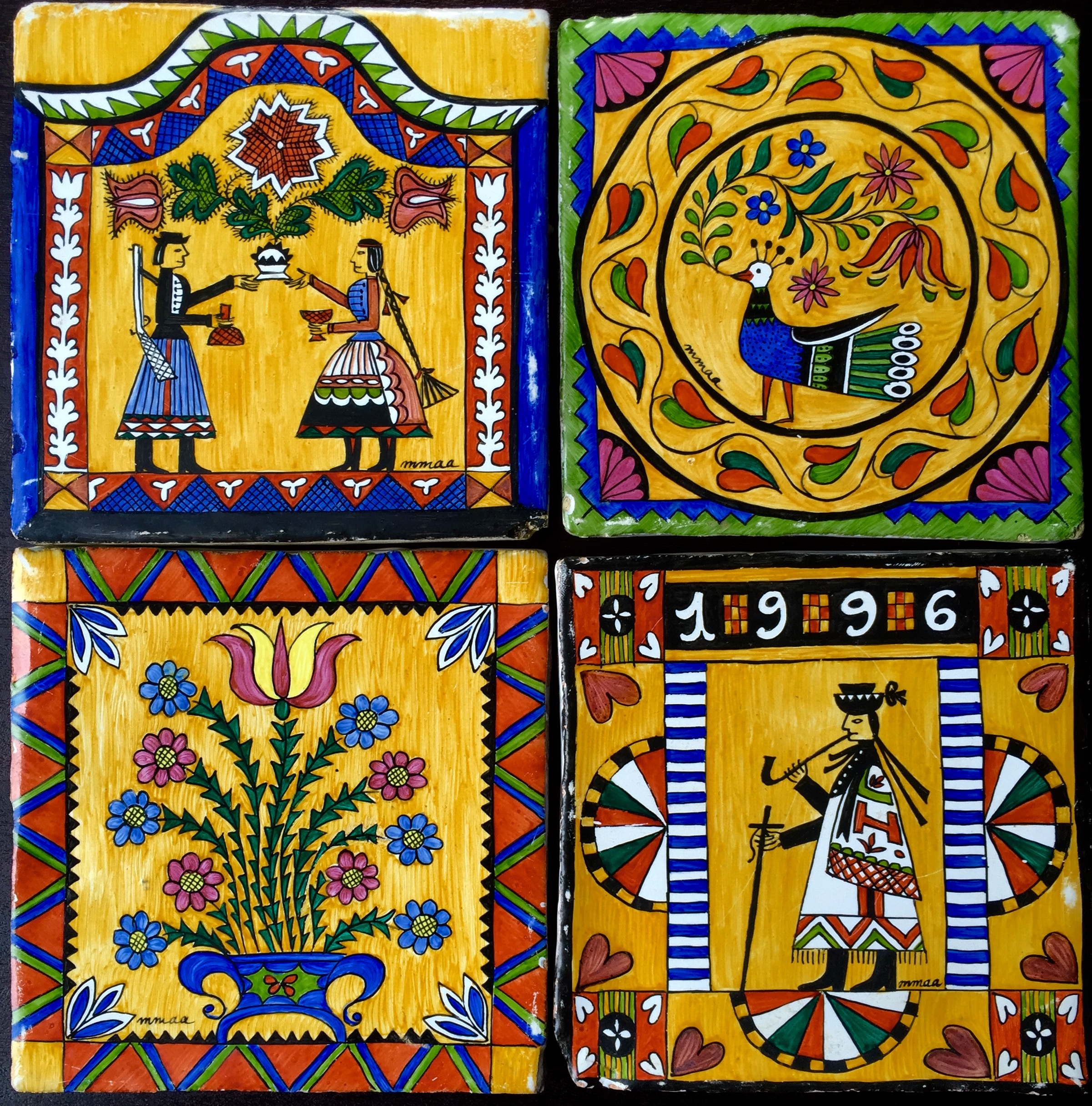 Hungarian Folk (small tiles)  - 5 x 5 in, 13 x 13 cm each