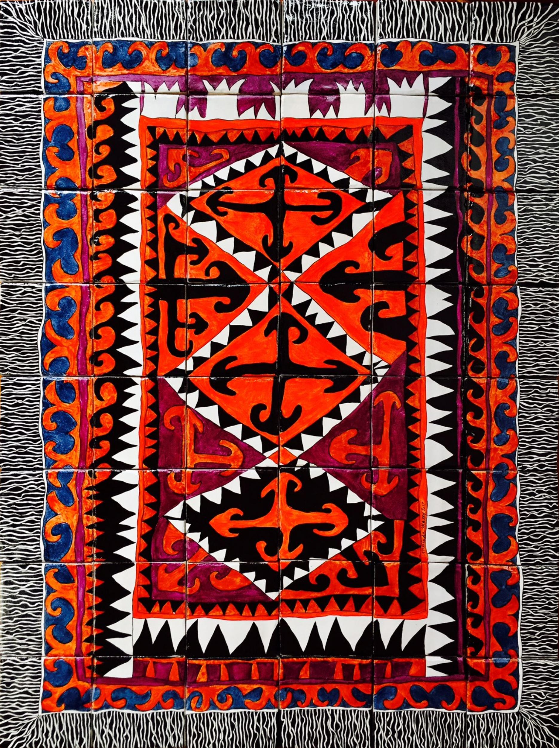 Central Asian Carpet Design  - 12 x 16 in, 30 x 40 cm