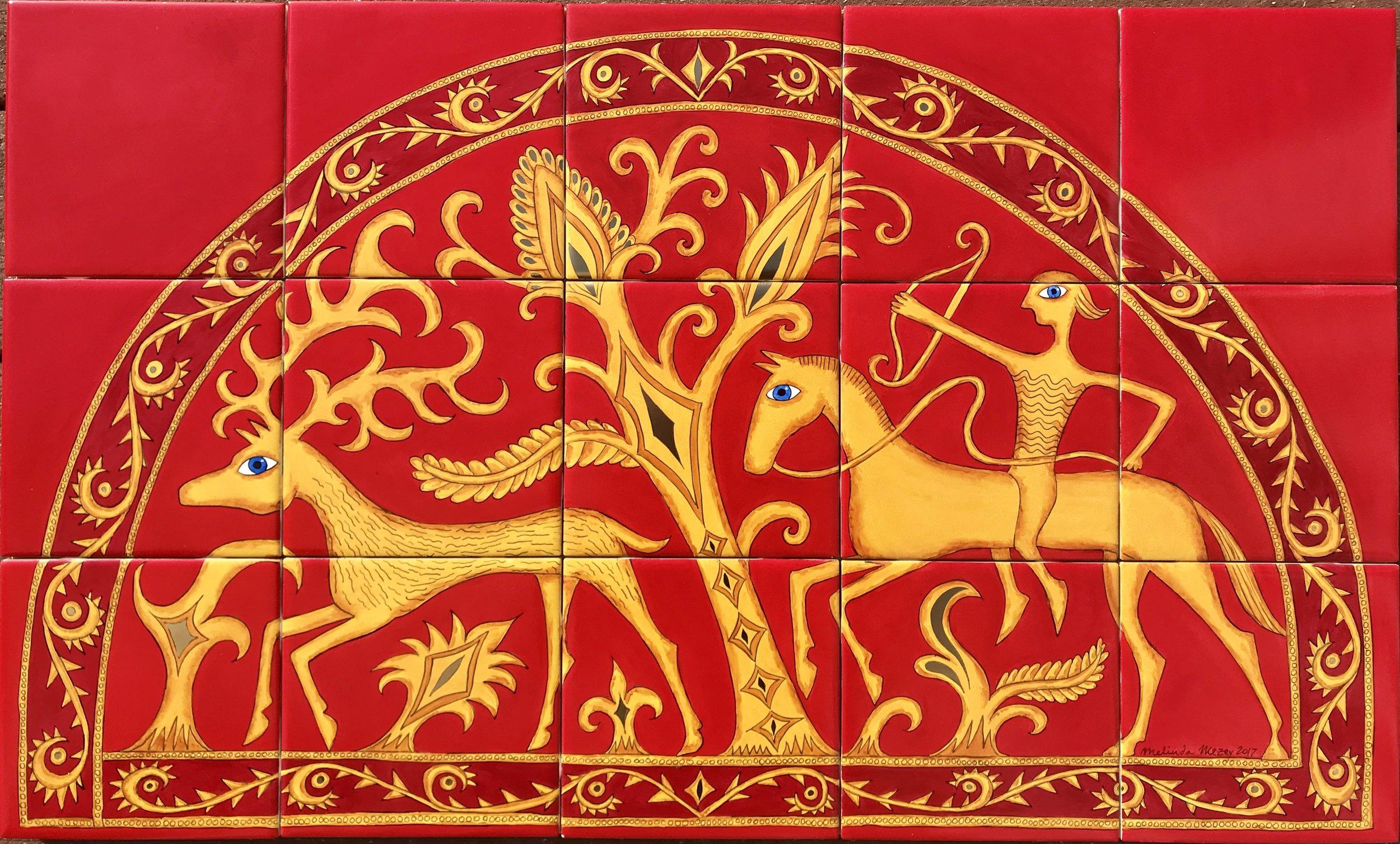 Golden Stag & Hunter -  18 x 30 in, 46 x 76 cm