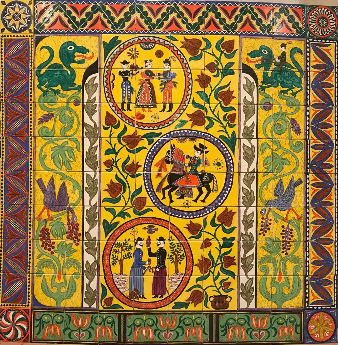 Hungarian Folk Tales -  43 x 43 in, 110 x 110 cm