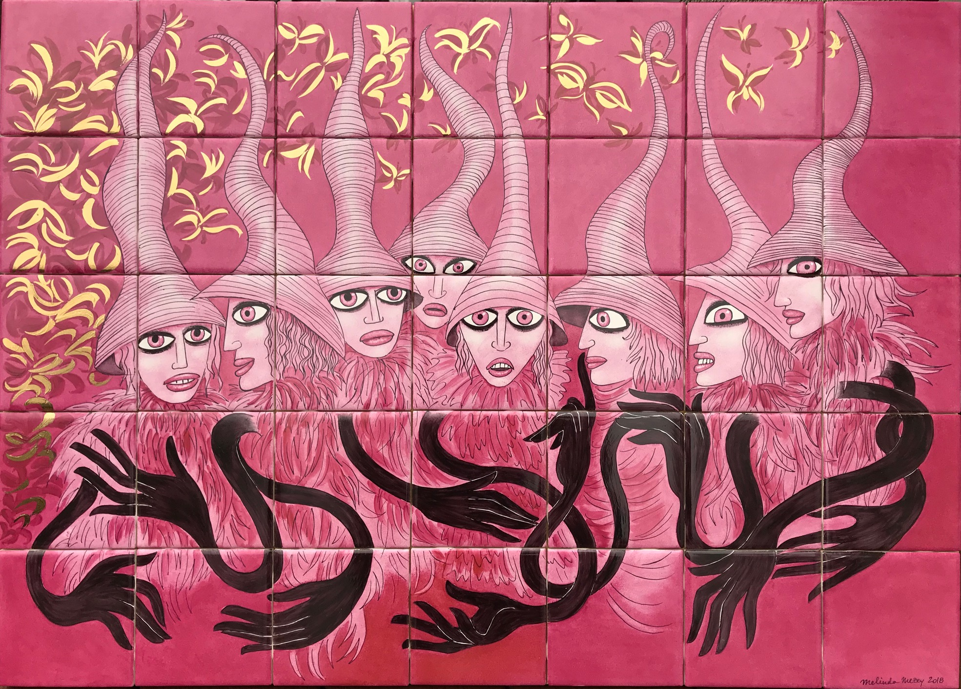 Pink Witches -  30 x 21 in, 76 x 54 cm