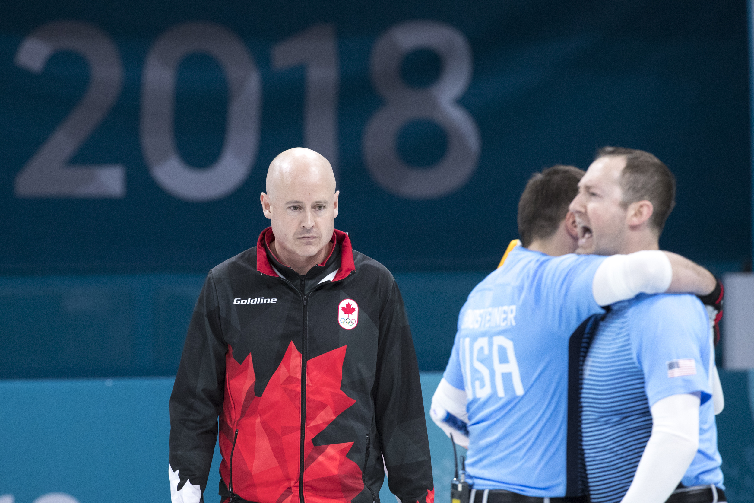 Team Canada's four man Curling team of Kevin Koe, Brent Laing, Ben Herbert, and Marc Kennedy lose in the Semifinal to the United States in the Gangneung Curling Centre at PyeongChang 2018 Olympic Winter Games in Gangneung, South Korea, Thursday, February 22, 2018. COC – David Jackson