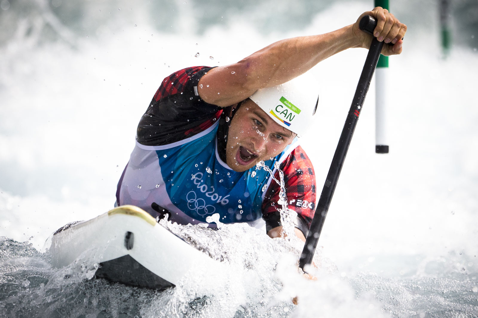 Team Canada's  Cameron Smedley races down the course during the qualifying round of canoe slalom(C1) at White Water Stadium, Deodoro Park,  Rio de Janeiro, Brazil, Sunday August 7, 2016.    COC Photo/David Jackson