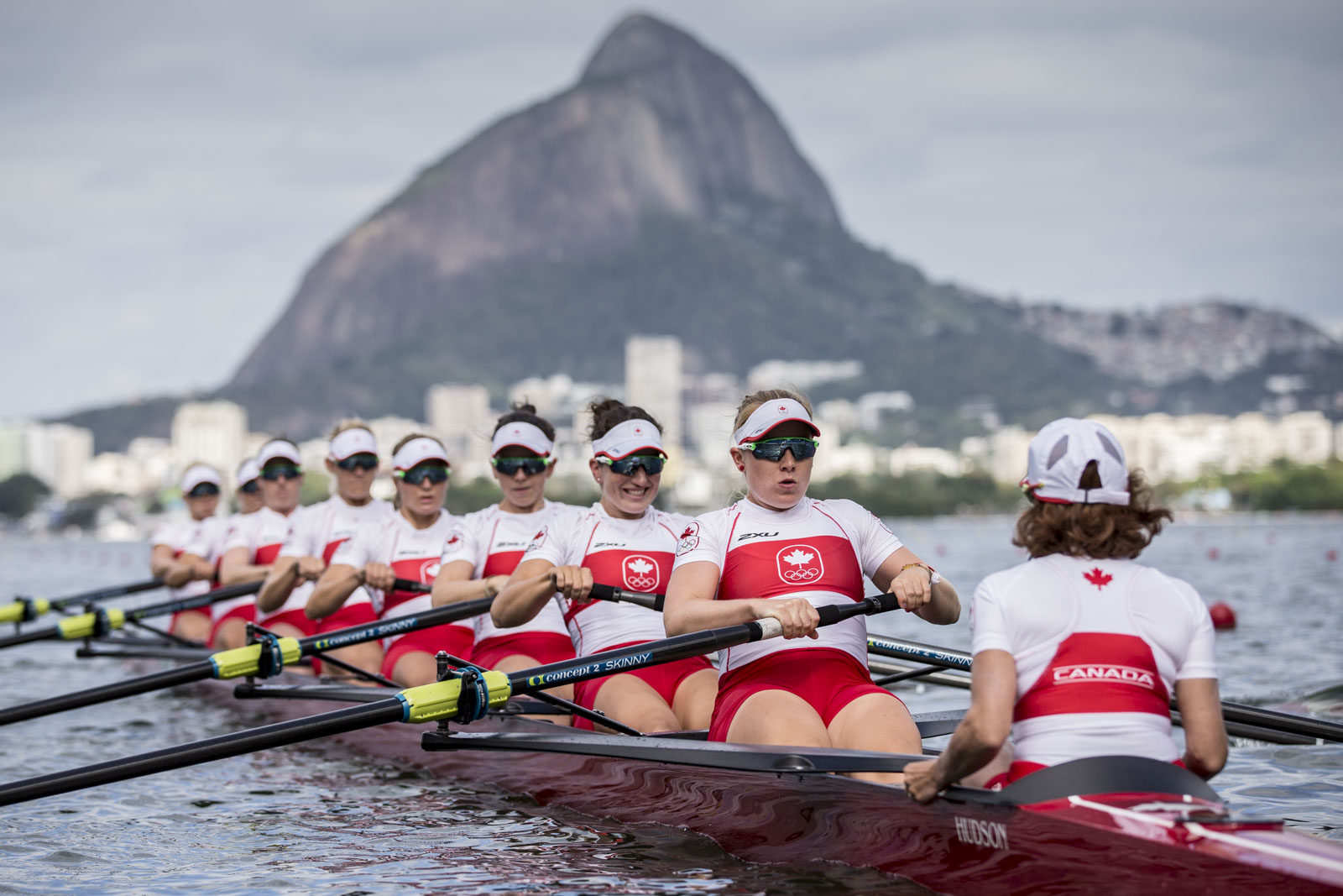 Team Canada's Cristy Nurse, Lisa Roman, Ante von Seydlitz, Christine Roper, Lauren Wilkinson, Susanne Grainger, Natalie Mastracci, Caileigh Filmer and Lesley Thompson-Willie in the womens eight repechage at Lagoa Rowing Stadium, Rio de Janeiro, Brazil, Thursday August 11, 2016.    COC Photo/David Jackson