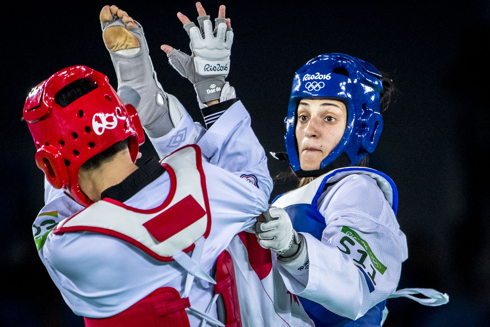 Team Canada's Melissa Pagnotta competes in the repechage round of women's 67kg Taekwondo at Carioca Stadium, Rio de Janeiro, Brazil, Thursday August 18, 2016.    COC Photo/David Jackson