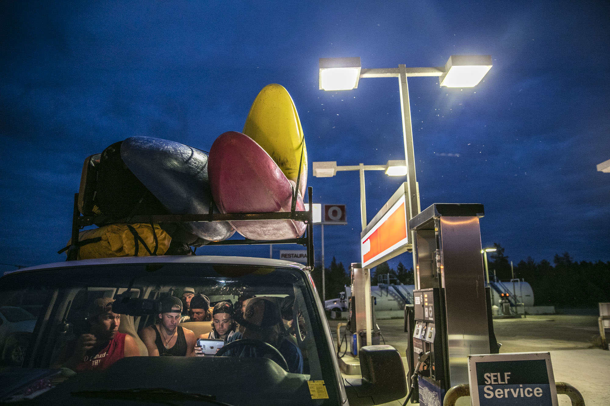 With kayaks on the roof and raft trailer in tow, the team , comprised of elite expedition and freestyle kayakers, drives 3,000 km to reach Manitoba's Nelson River.  