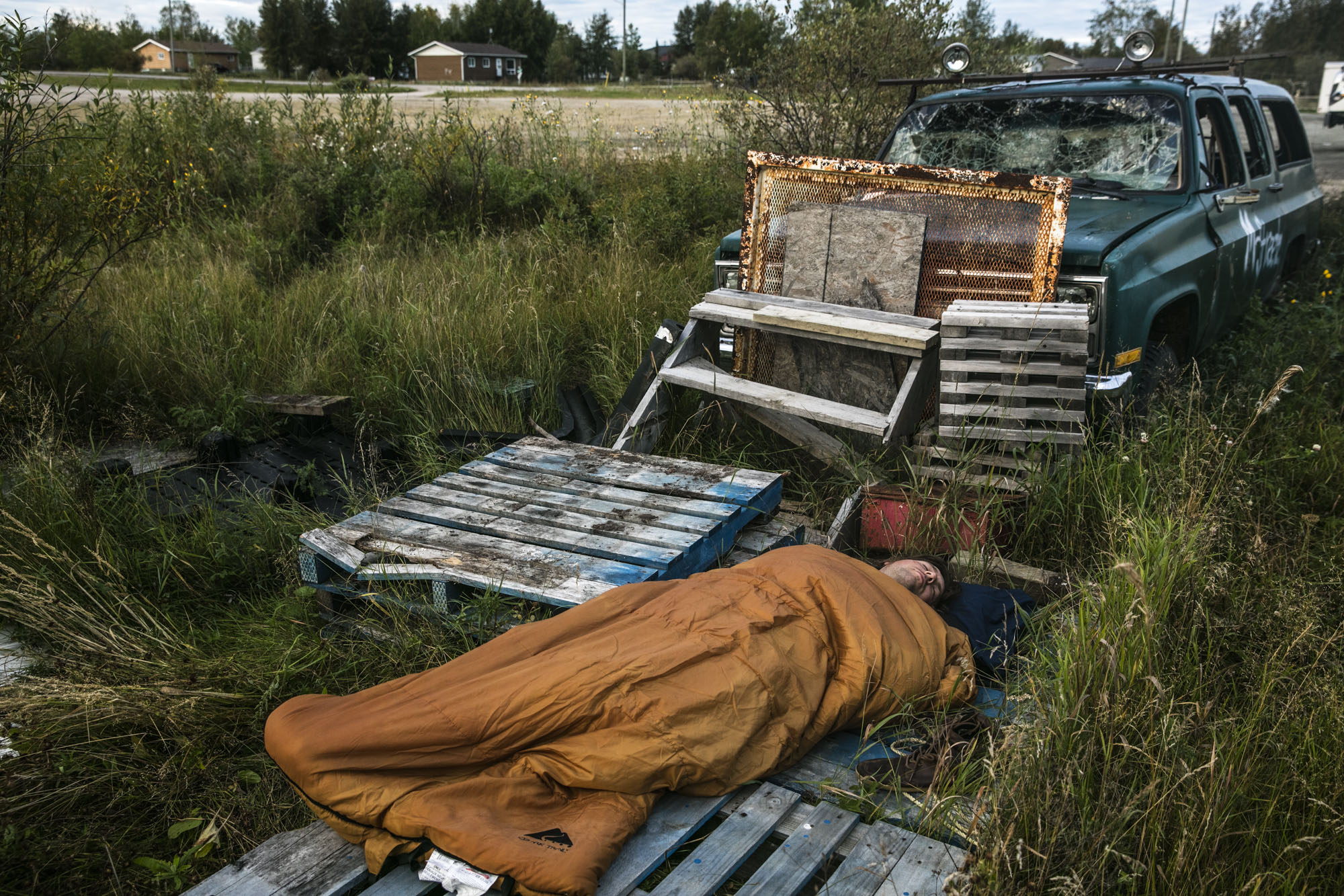 In the town of Cross Lake, Manitoba, Hal Monkman finds a spot to stretch out and sleep after the 40-hour drive north from the Ottawa River. 