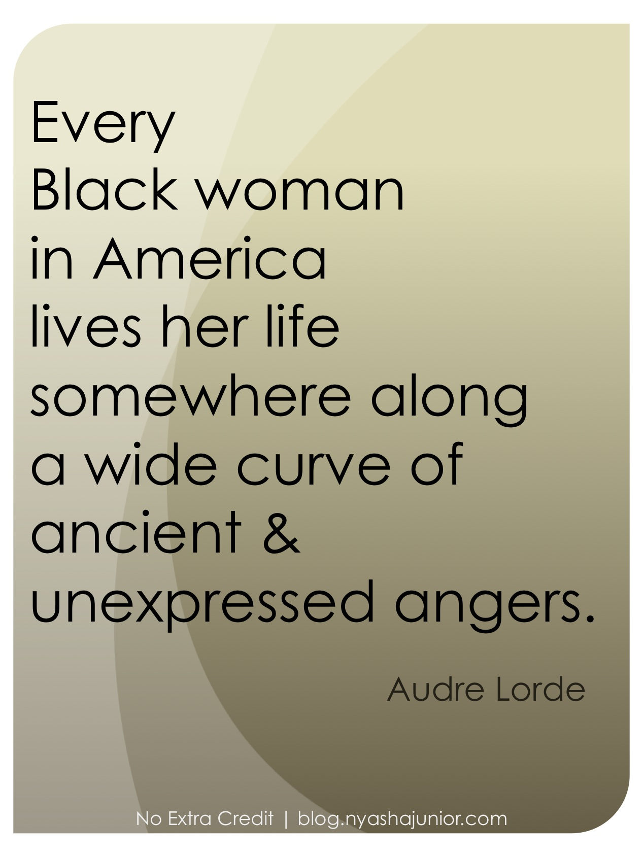 "Audre Lorde, ""Eye to Eye: Black Women, Hatred, and Anger"" in  Sister Outsider  (p. 145)"