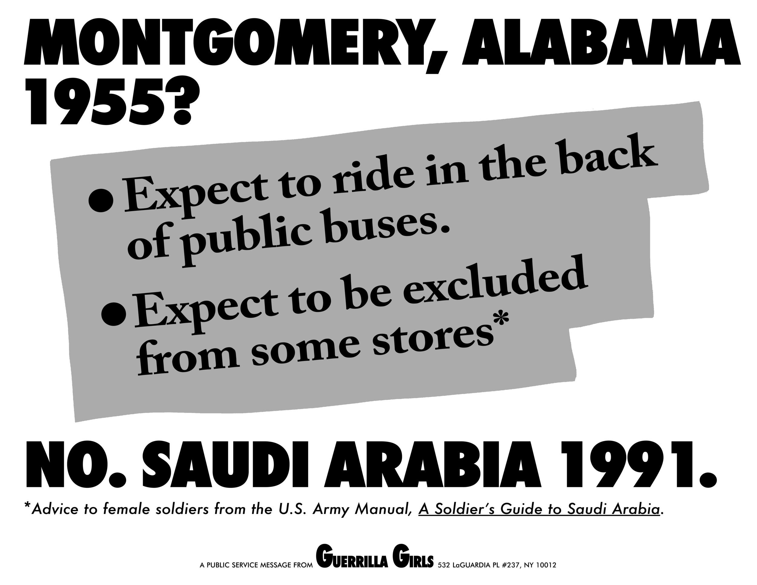 MONTGOMERY, ALABAMA 1955? NO, SAUDI ARABIA 1991.