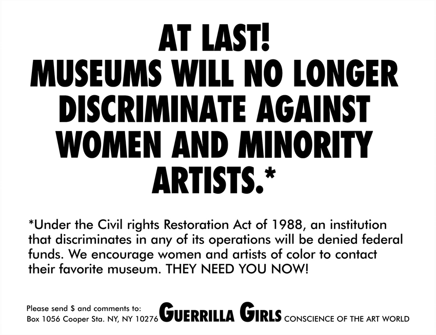 AT LAST! MUSEUMS WILL NO LONGER DISCRIMINATE AGAINST WOMEN AND MINORITY ARTISTS.