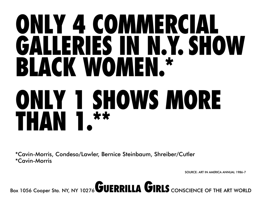 ONLY 4 COMMERCIAL GALLERIES IN N.Y. SHOW BLACK WOMEN.