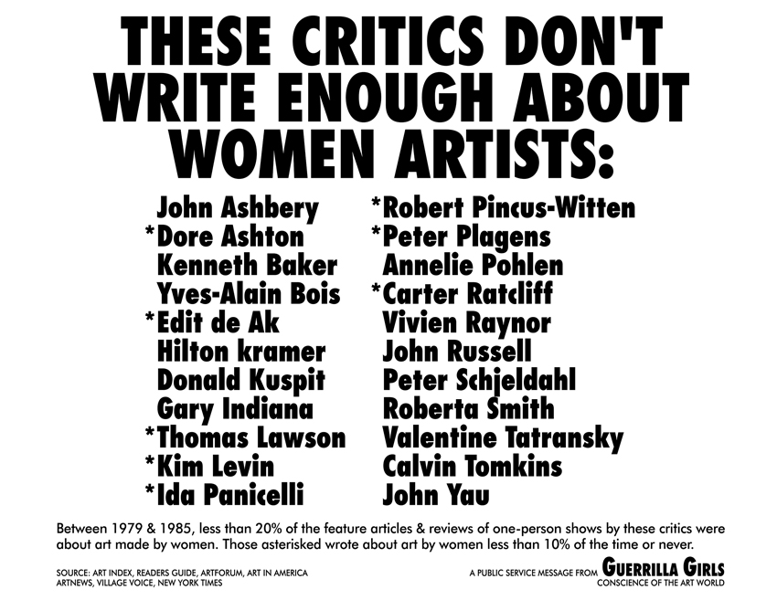 THESE CRITICS DON'T WRITE ENOUGH ABOUT WOMEN ARTISTS