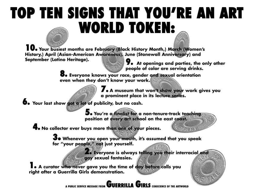 TOP TEN SIGNS THAT YOU'RE AN ARTWORLD TOKEN