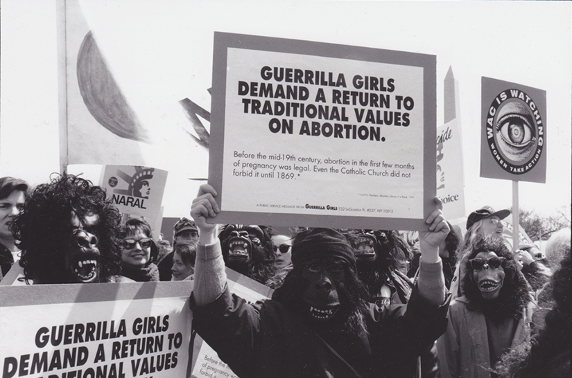 GUERRILLA GIRLS DEMAND A RETURN TO TRADITIONAL VALUES ON ABORTION, PRO-CHOICE MARCH