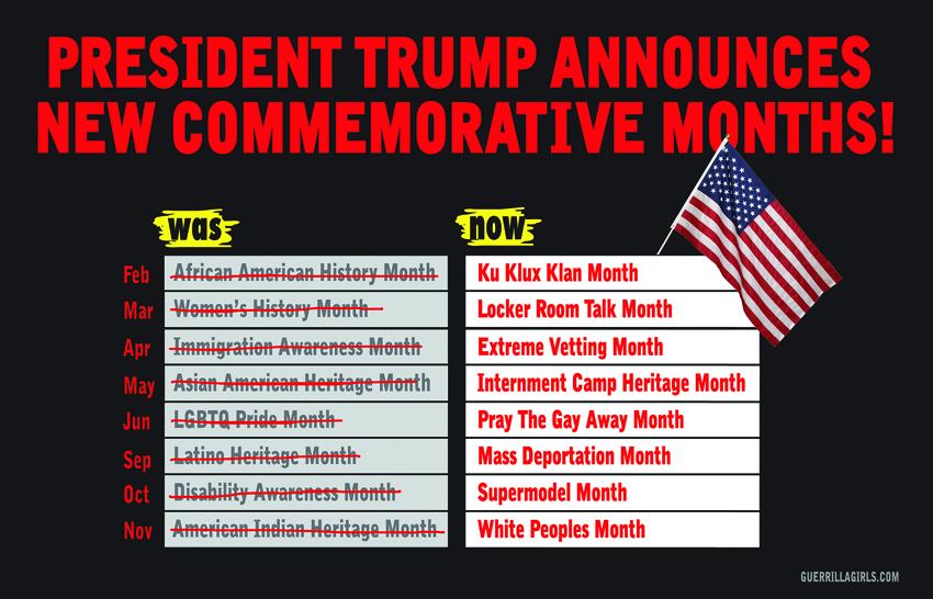 TRUMP ANNOUNCES NEW COMMEMORATIVE MONTHS