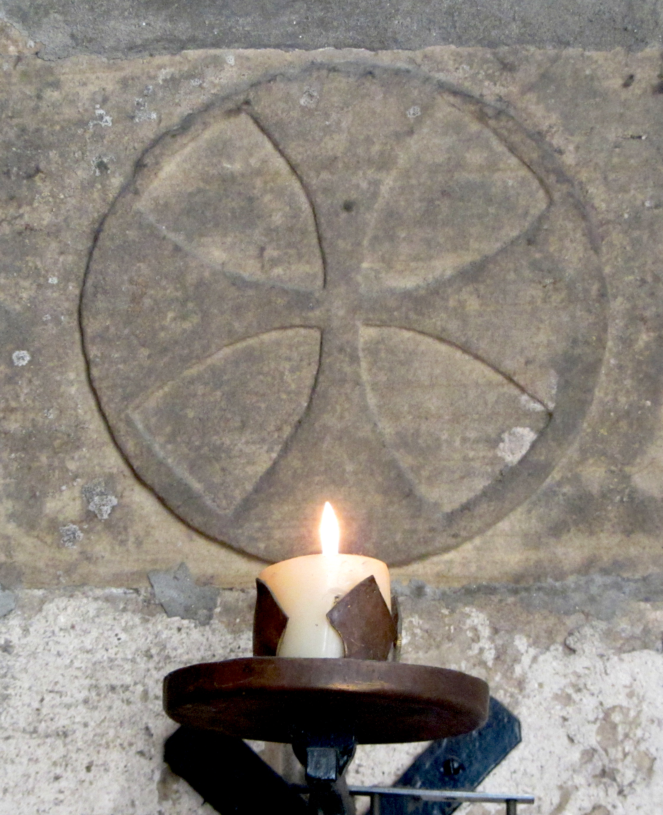 A consecration cross at Pluscarden Abbey