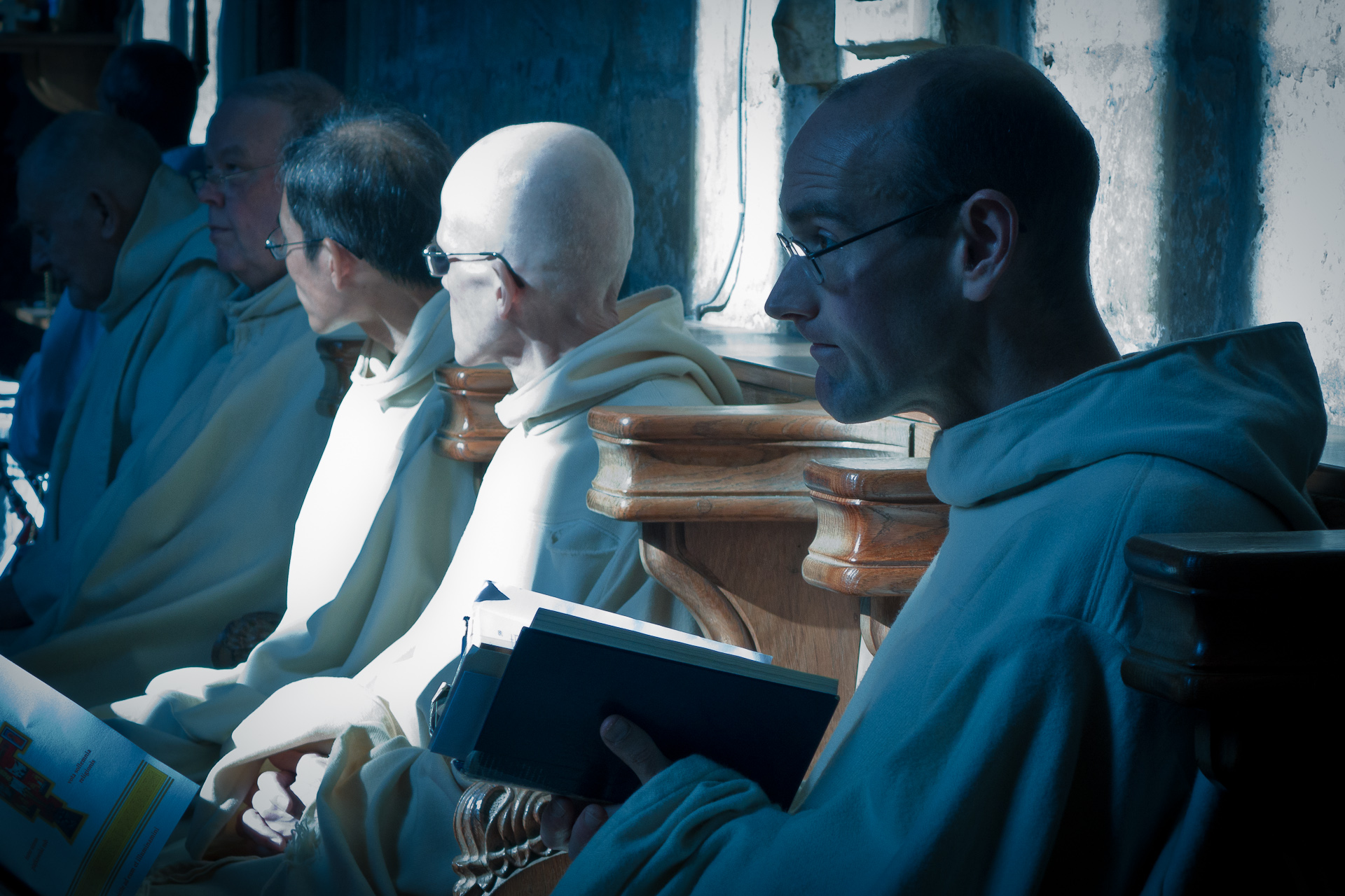 Monks at Pluscarden Abbey. Image by Wojciech Sternak