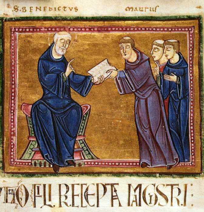 St. Benedict delivering his Rule to St. Maurus and other monks of his order -France, Monastery of St. Gilles, Nimes, 1129