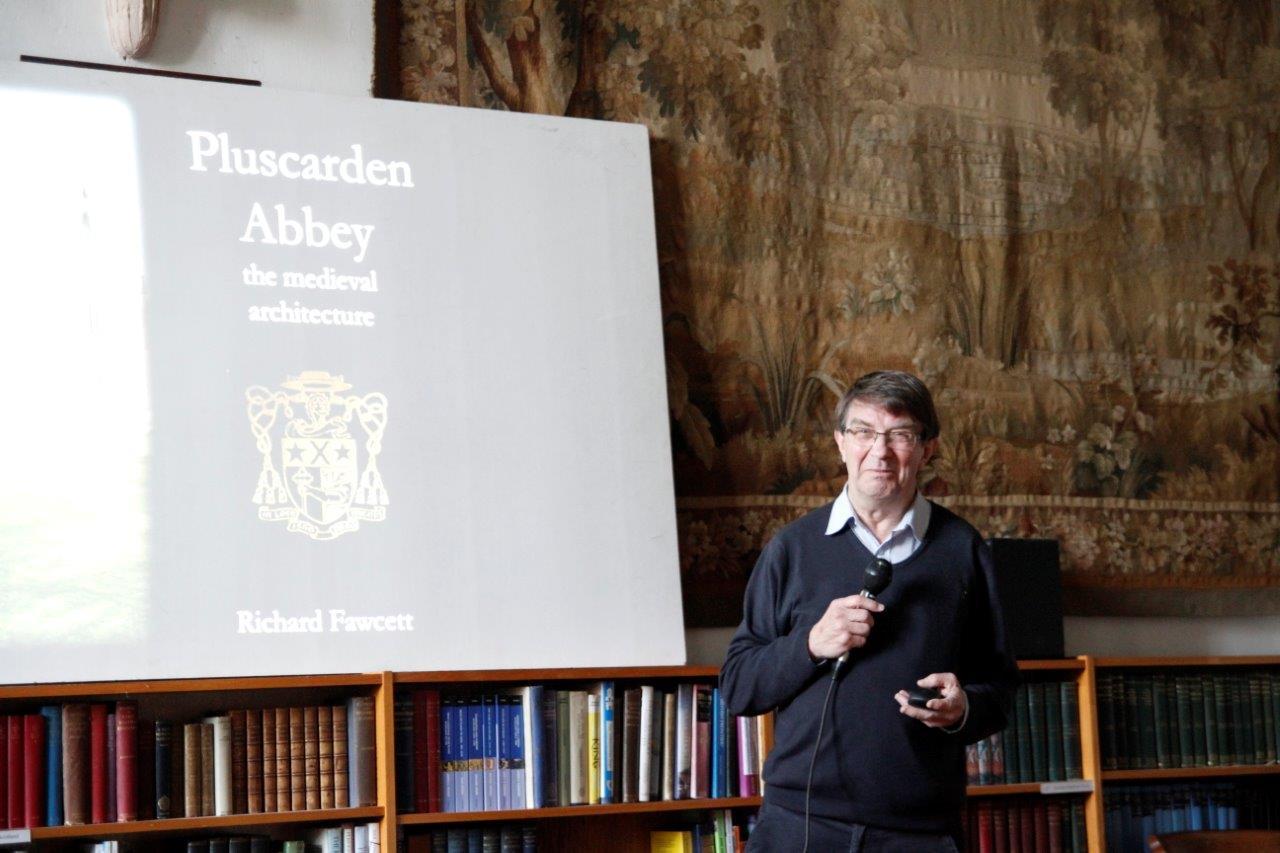 Professor Richard Fawcett OBE speaking at Pluscarden Abbey
