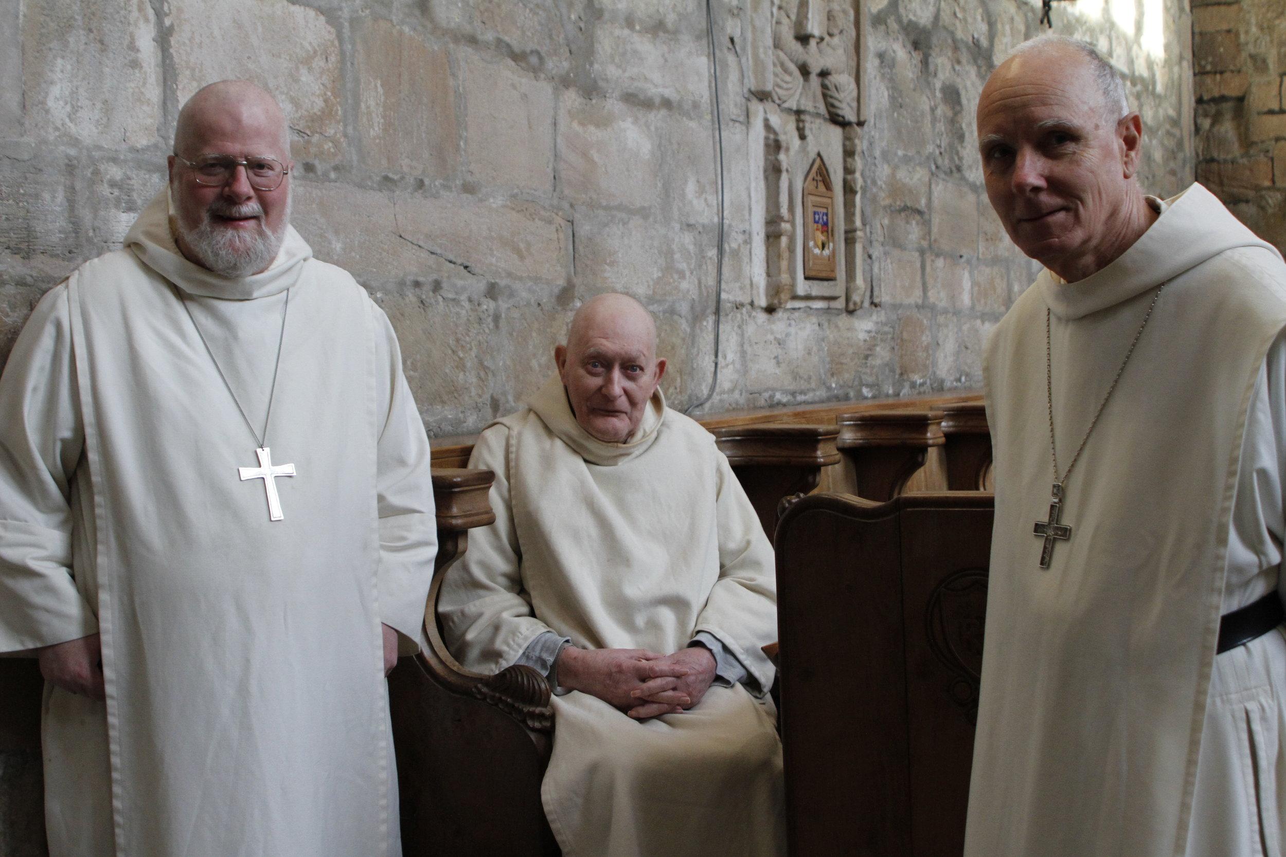 Fr. Abbot Anselm, Dom Adrian,Abbot Francis of Prinknash (left-right)