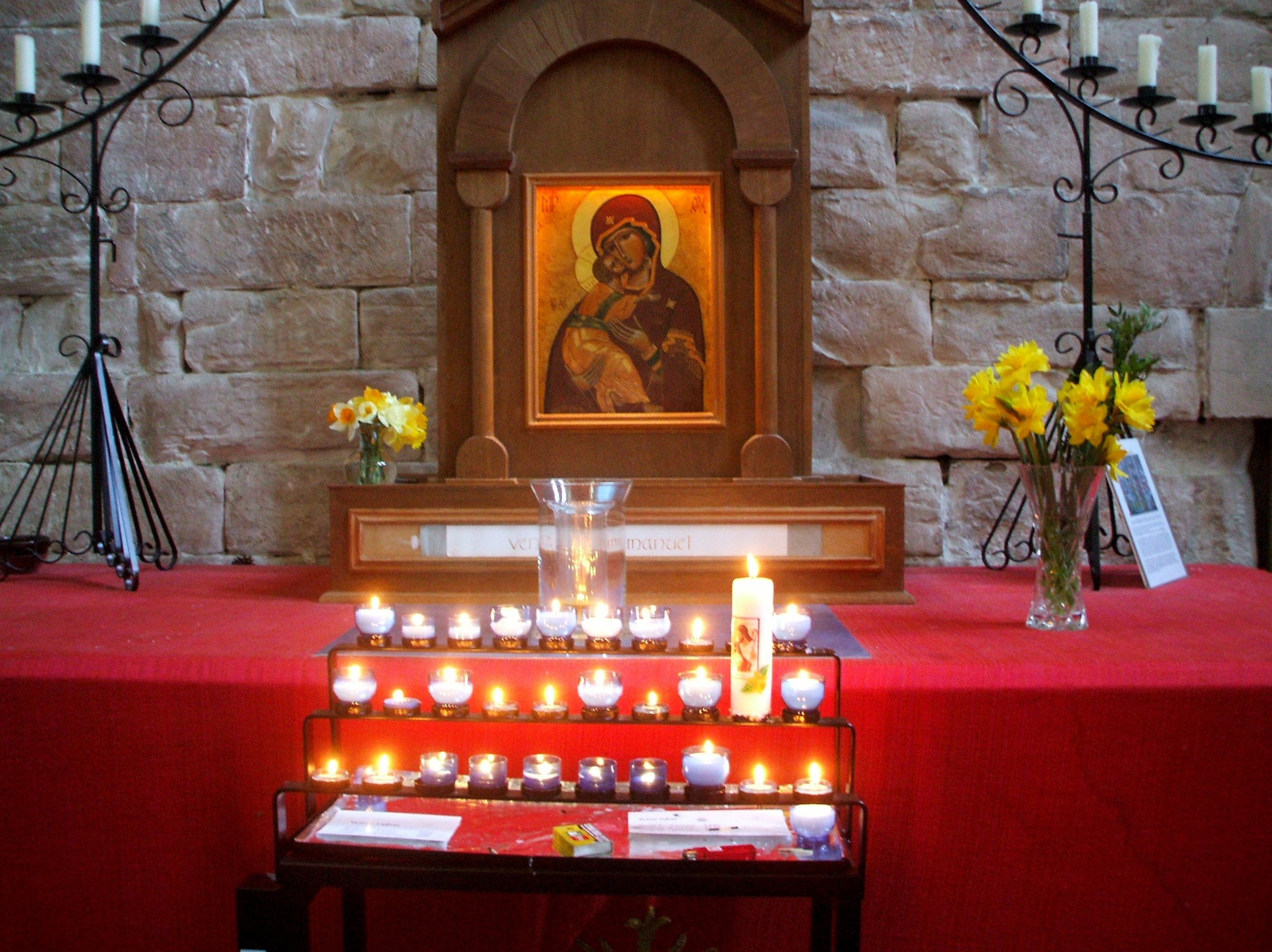 Votive Candle stand at Pluscarden Abbey