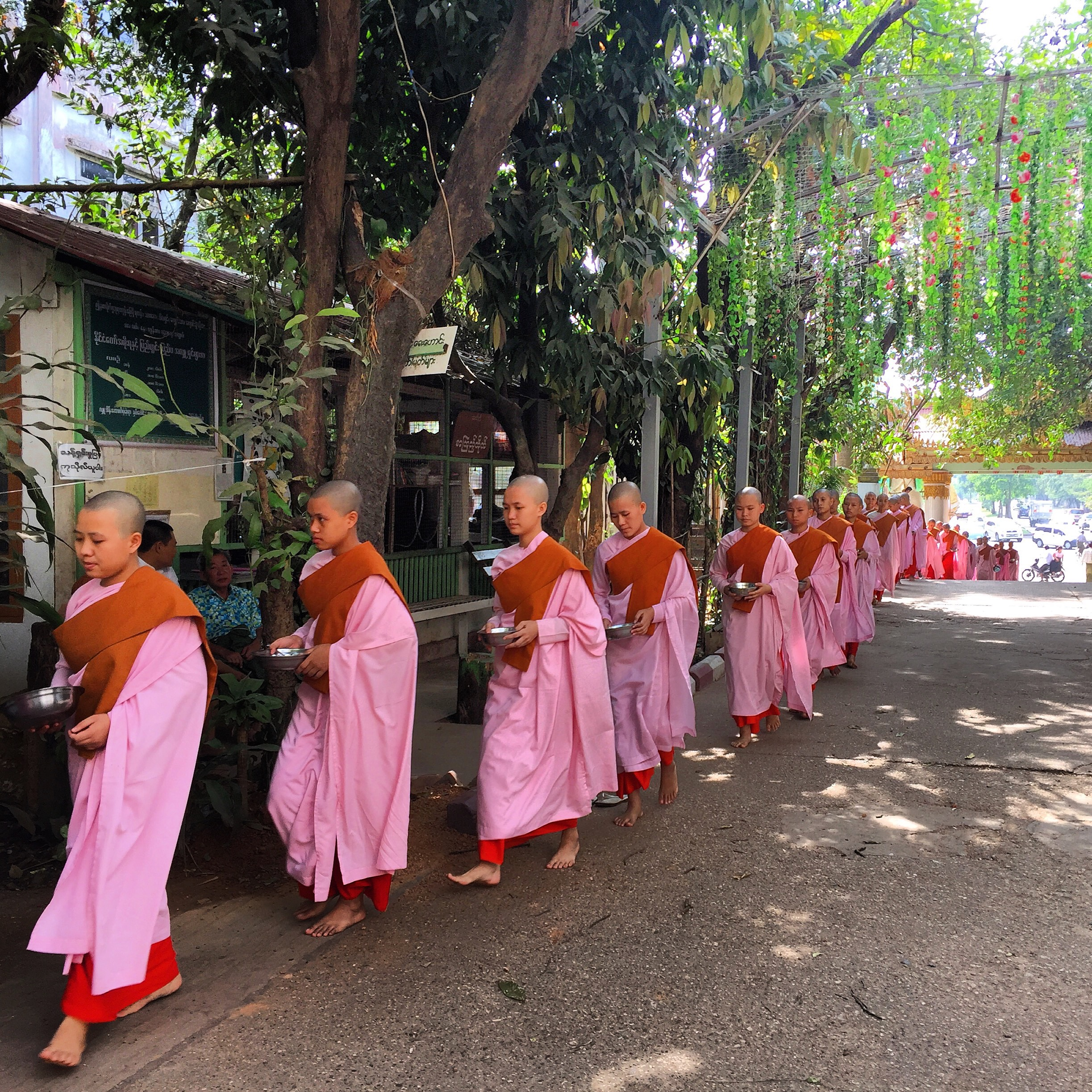 Every morning in most cities, towns, and villages a steady stream of nuns and monks can be seen collecting their daily alms (food) from the townspeople.