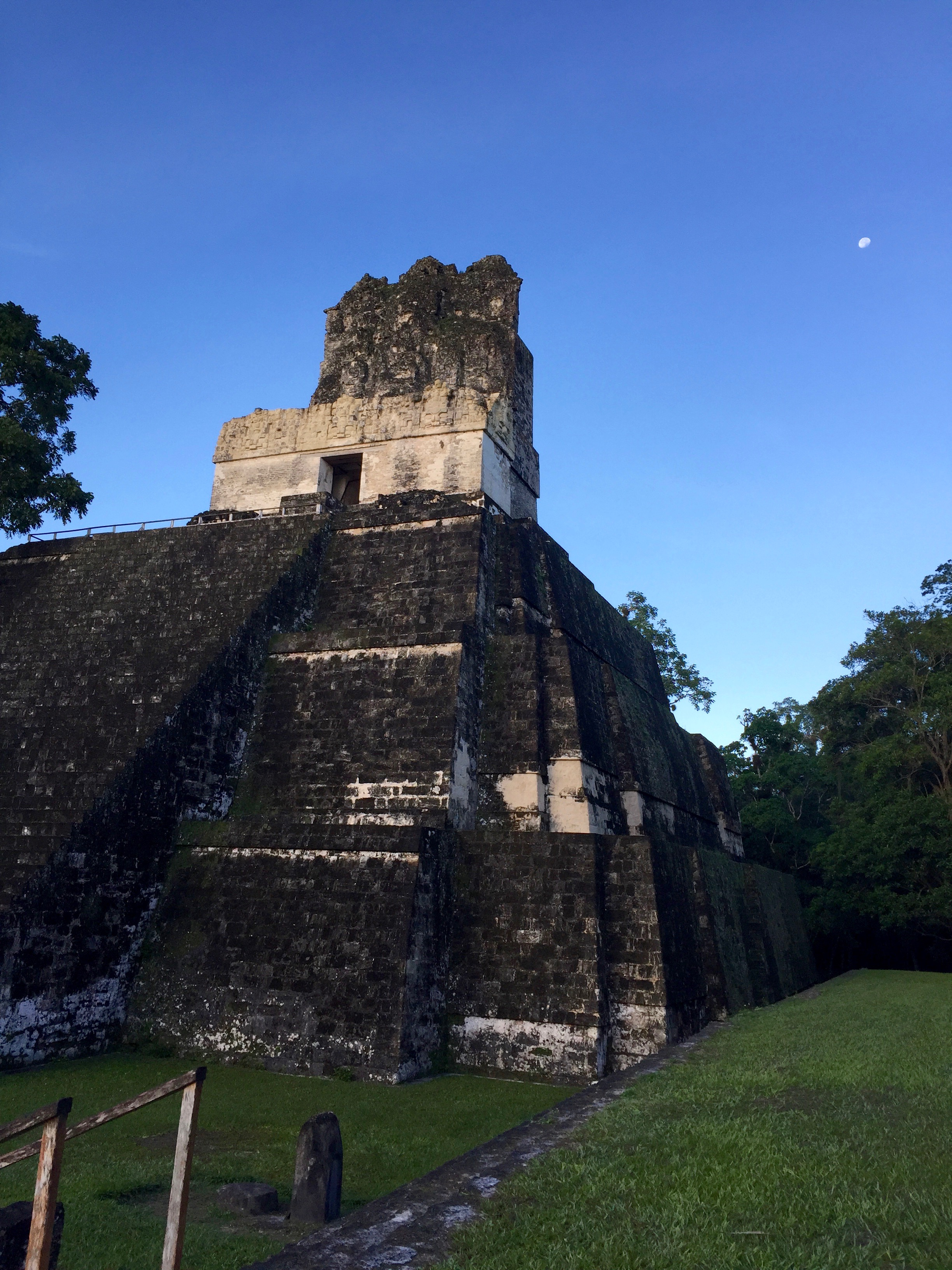 A view of one of the Tikal temples in daylight. The advantage of arriving in the park at sunrise is that the area is practically empty for the first few hours of daylight, so it's easy to imagine what it was like hundreds of years ago.