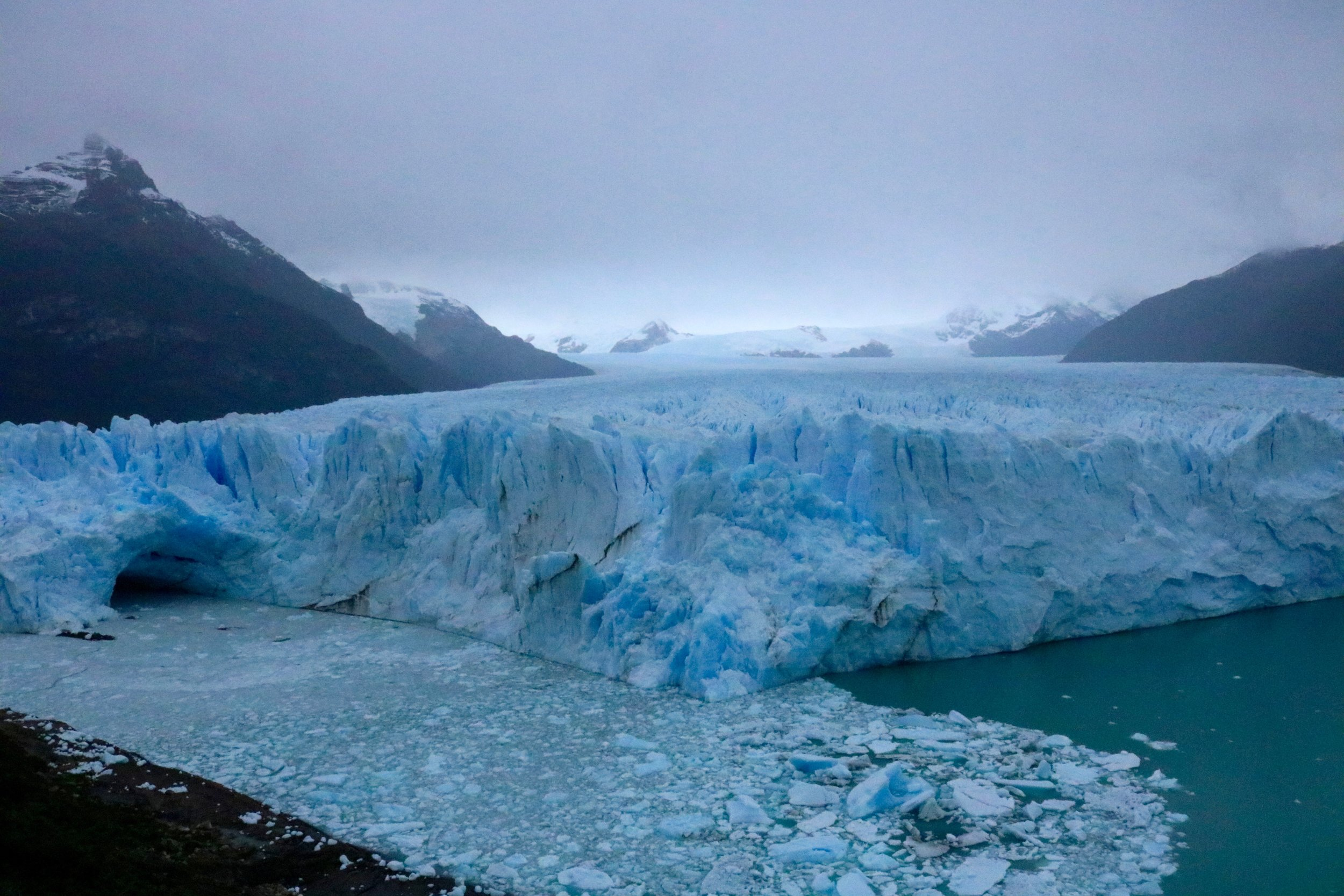The glacier at El Calafate is breathtaking.  I took a boat out to get a closeup view of the glacier, the calving ice makes the most incredible thundering sound.  And the blue ice and water hasn't been edited, that is what it looks like.  So beautiful.
