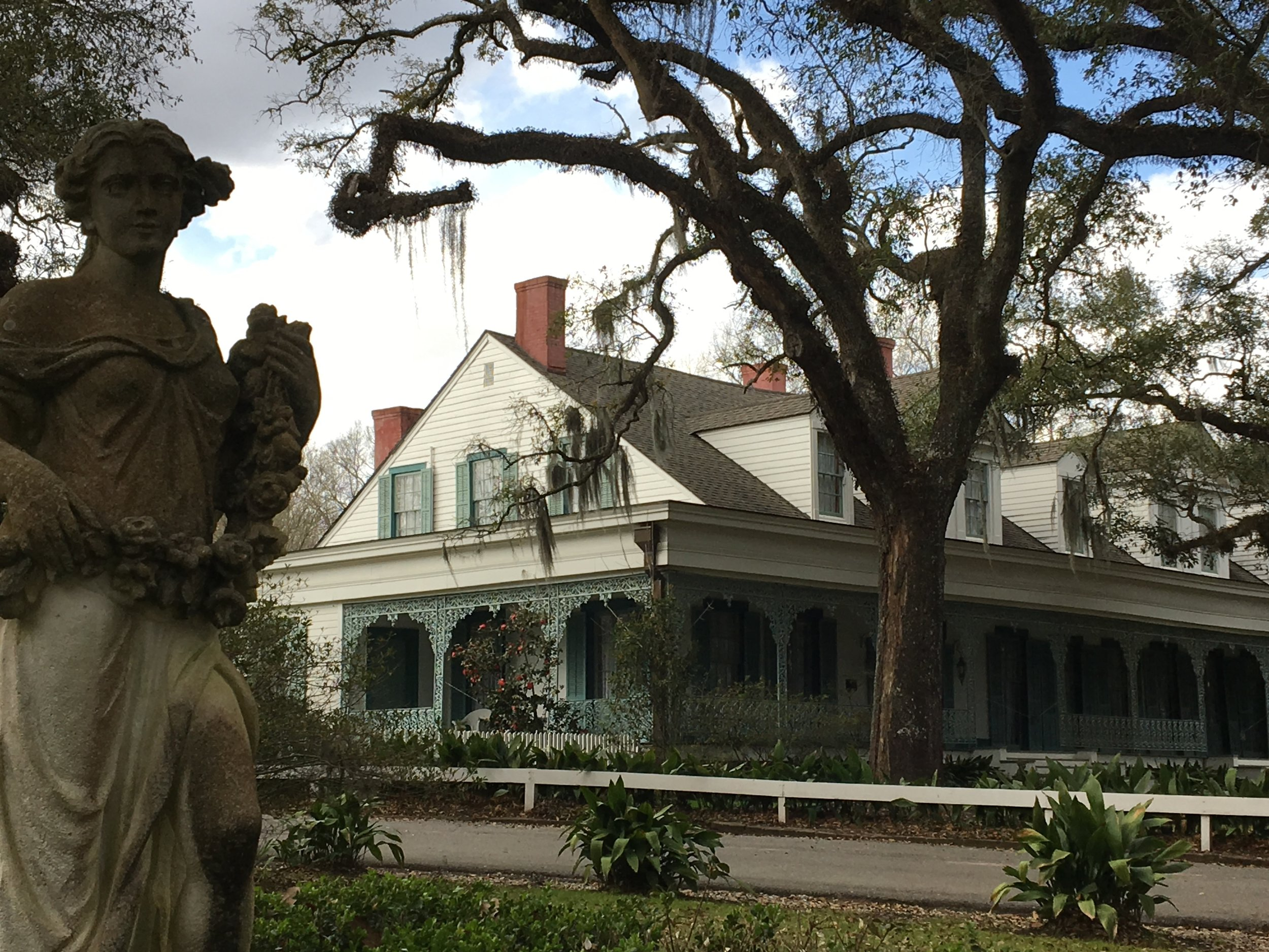 Outside Myrtles Plantation, one of the most haunted places in the United States.